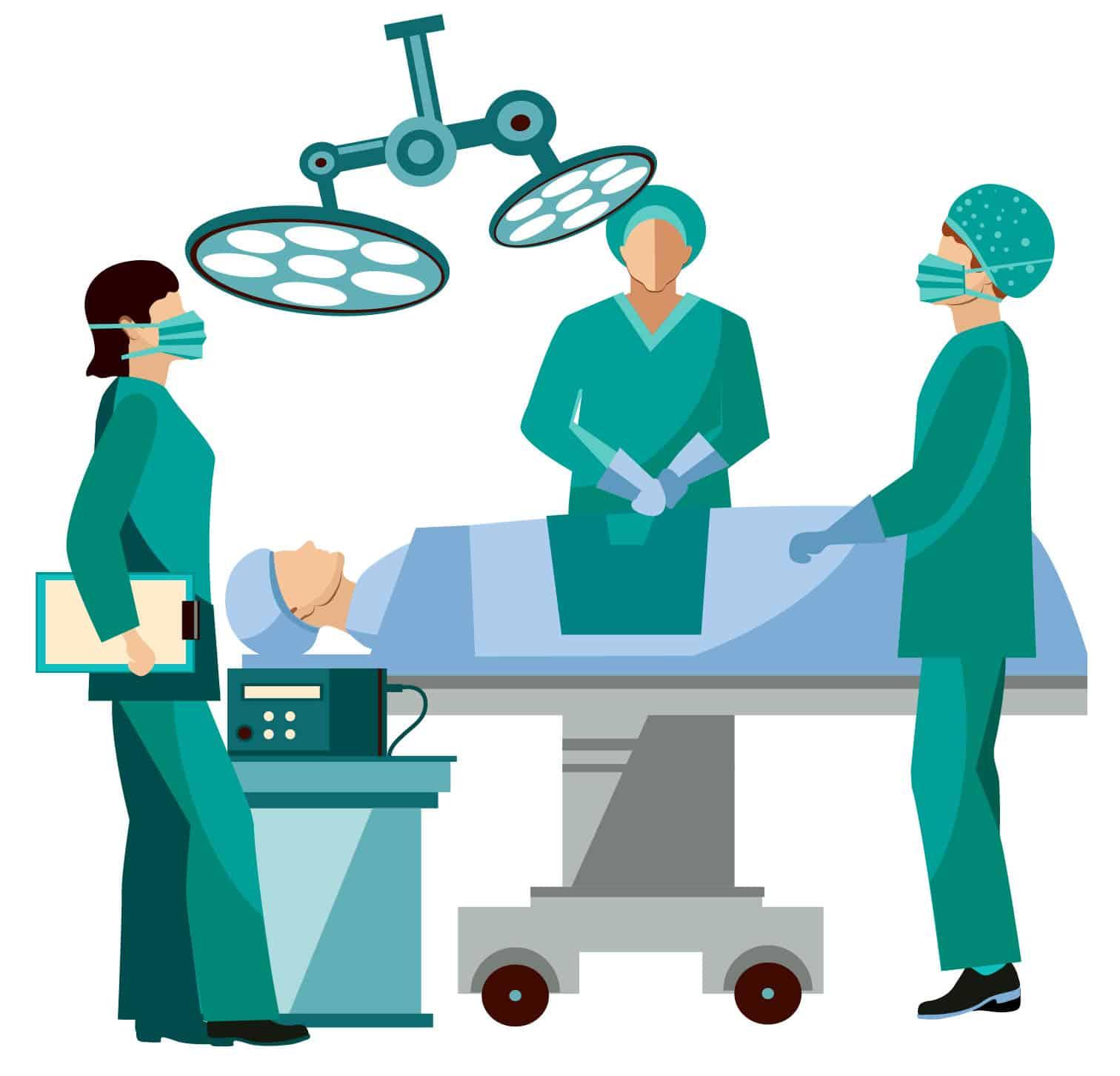 ציור של שלושה מנתחים בחדר ניתוח מבצעים ניתוח לאדם